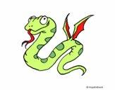 Coloriage Serpent avec des ailes colorié par noaczodor