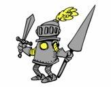 Chevalier avec épée et la lance