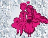 Les jeunes mariés dans un nuage