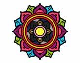 Coloriage Mandala mosaïque grecque colorié par helena