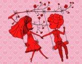 Marié sur une balançoire