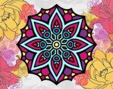 Coloriage Mandala symétrie simple colorié par LISA