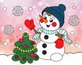 Carte de bonhomme de neige de Noël