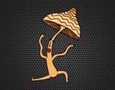 Coloriage Champignon faire de la gymnastique colorié par KAKE2