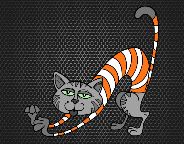 Coloriage Chat en étirant colorié par KAKE2