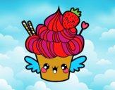 Cupcake kawaii à la fraise
