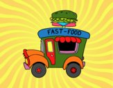 Coloriage Food truck de hamburger colorié par Danco17