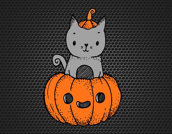 Coloriage Un chaton d'Halloween colorié par KAKE2