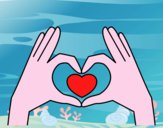 Coloriage Cœur avec les mains colorié par deadpool