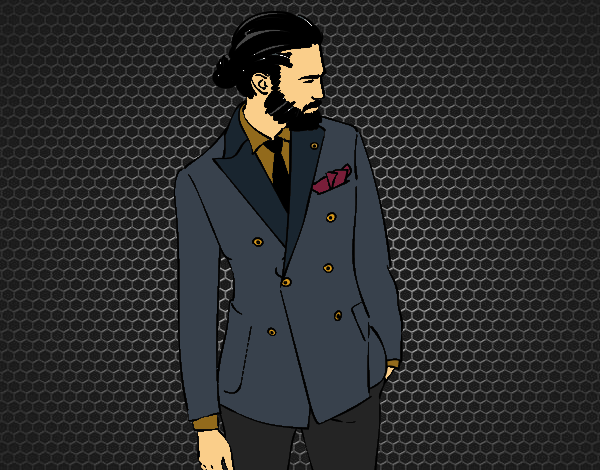 Coloriage Garçon moderne avec costume colorié par KAKE2