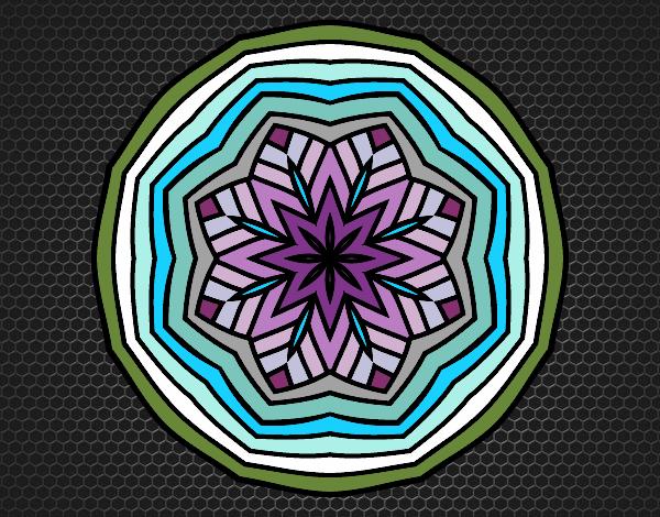 Coloriage Mandala aérienne colorié par KAKE2