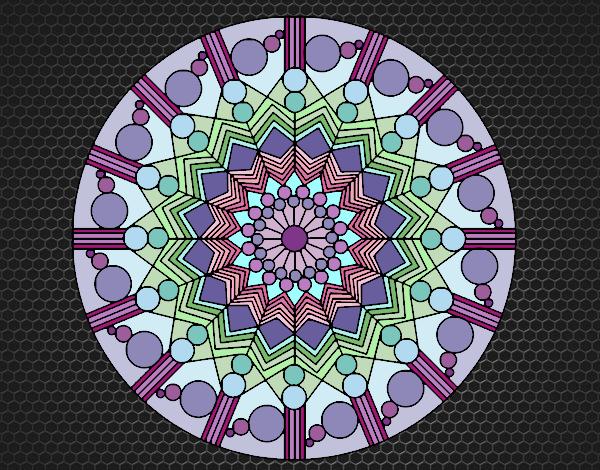Coloriage Mandala fleur avec des cercles colorié par KAKE2