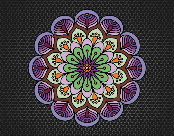 Coloriage Mandala fleur et feuilles colorié par KAKE2