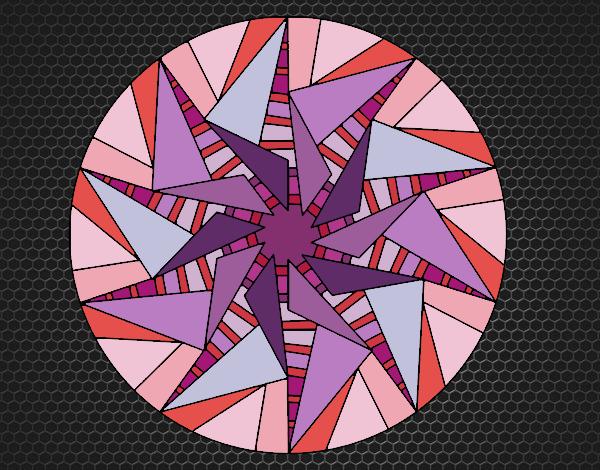 Coloriage Mandala soleil triangulaire colorié par KAKE2