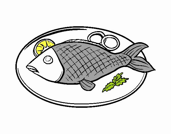 Coloriage Plat de poisson colorié par aubry