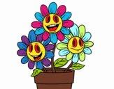 Coloriage Pot de fleurs colorié par deadpool