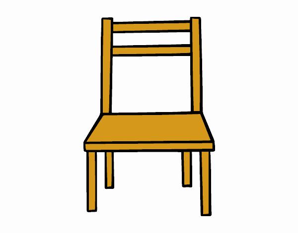 Coloriage Une chaise en bois colorié par Mathie