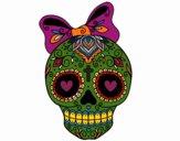 Coloriage Fête des morts au mexicain avec ruban colorié par Danielle