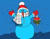 Coloriage Un bonhomme de neige de neige de Noël colorié par Danielle