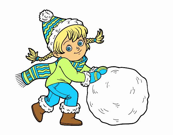 dessin de petite fille avec grosse boule de neige colorie. Black Bedroom Furniture Sets. Home Design Ideas