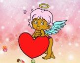 Cupidon et un coeur