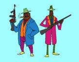Coloriage Gangsters colorié par Danielle