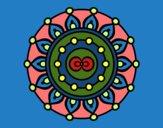 Coloriage Mandala méditation colorié par Danielle
