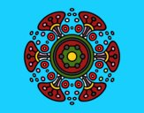 Coloriage Mandala monde lointain colorié par Danielle