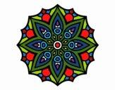 Coloriage Mandala symétrie simple colorié par Danielle