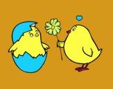 Poussins amoureux
