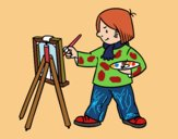 Coloriage Un artiste colorié par Danielle