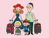 Coloriage Vacances en famille colorié par Danielle
