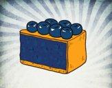 Coloriage Tarte aux bleuets colorié par Danielle