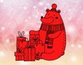 Ours avec des cadeaux de Noël