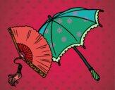 Éventail et parapluie