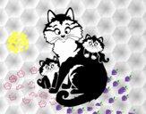 Mère chat et chatons