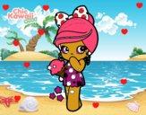 Petite fille et la crème glacée Kawaii