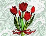 Tulipes avec un ruban