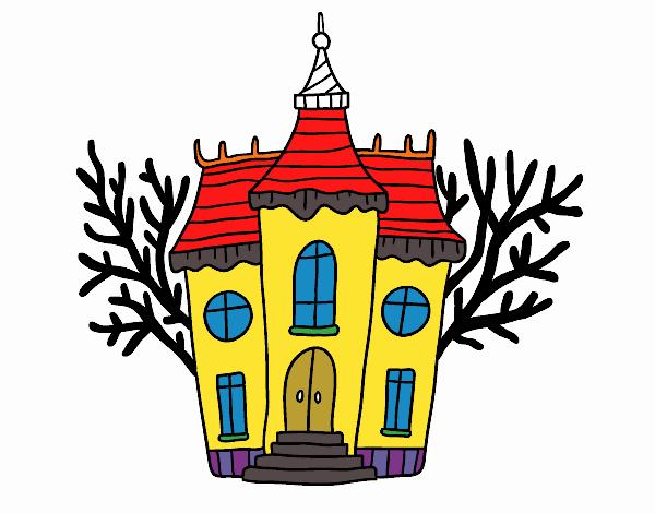 Dessin de manoir d 39 halloween hant colorie par membre non inscrit le 22 de f vrier de 2018 - Manoir dessin ...