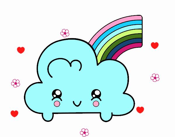 Dessin de nuage avec arc en ciel kawaii colorie par membre non inscrit le 27 de f vrier de 2018 - Arc en ciel dessin a colorier ...