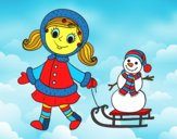 Petite fille avec traîneau et bonhomme de neige
