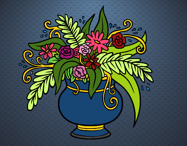 Un vase avec des fleurs