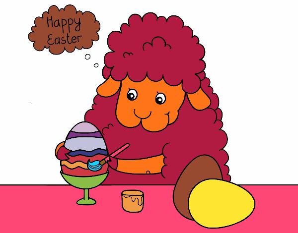 Dessin De Petits Moutons à Colorier Des Oeufs De Pâques
