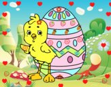 Coloriage Poussin sympathique avec oeuf de Pâques colorié par Luciebeh