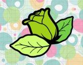 Coloriage Rose avec des feuilles colorié par cousyn