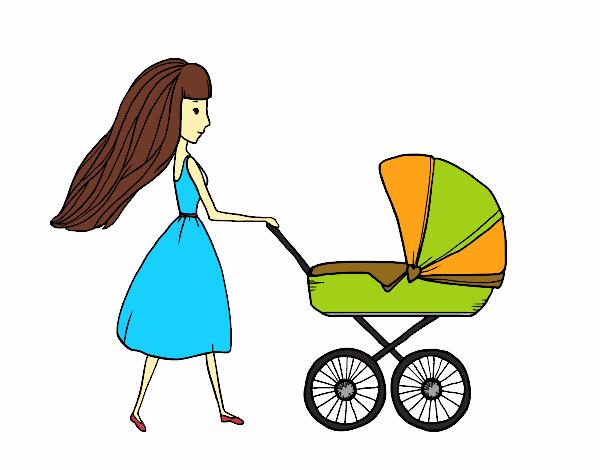 Dessin de maman avec poussette colorie par membre non - Poussette dessin ...