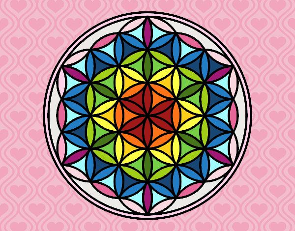 Dessin De Mandala Fleur De Vie Colorie Par Membre Non Inscrit Le 17