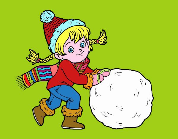 Dessin De Petite Fille Avec Grosse Boule De Neige Colorie