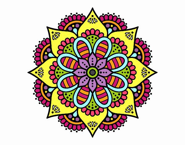 Dessin De Mandala De Fleurs De Printemps Colorie Par Membre
