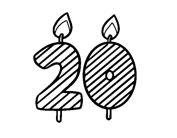 Coloriage de 20 ans pour colorier - Dessin anniversaire 20 ans ...